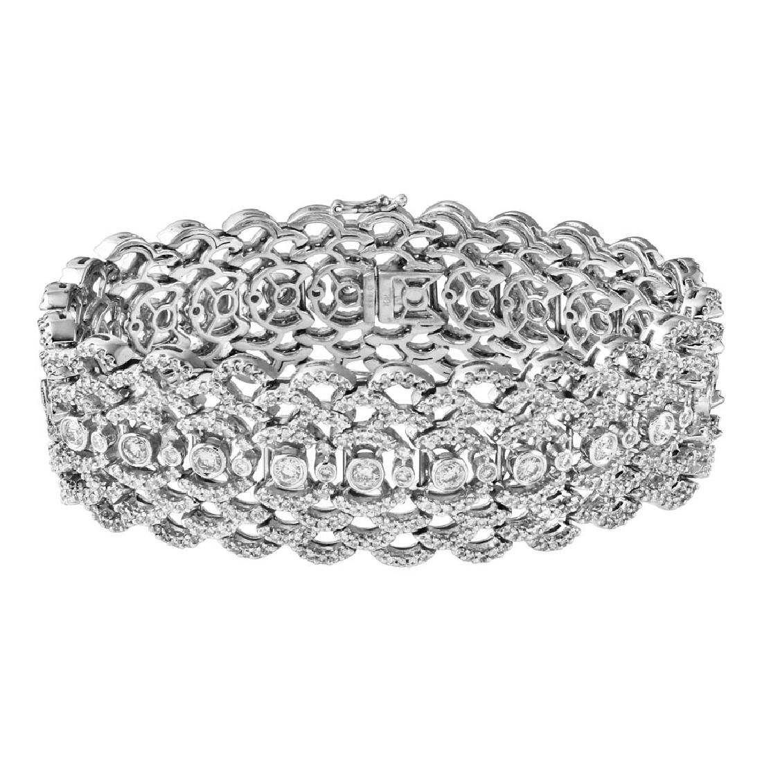 Genuine 7.46 TCW 18K White Gold Ladies Bracelet