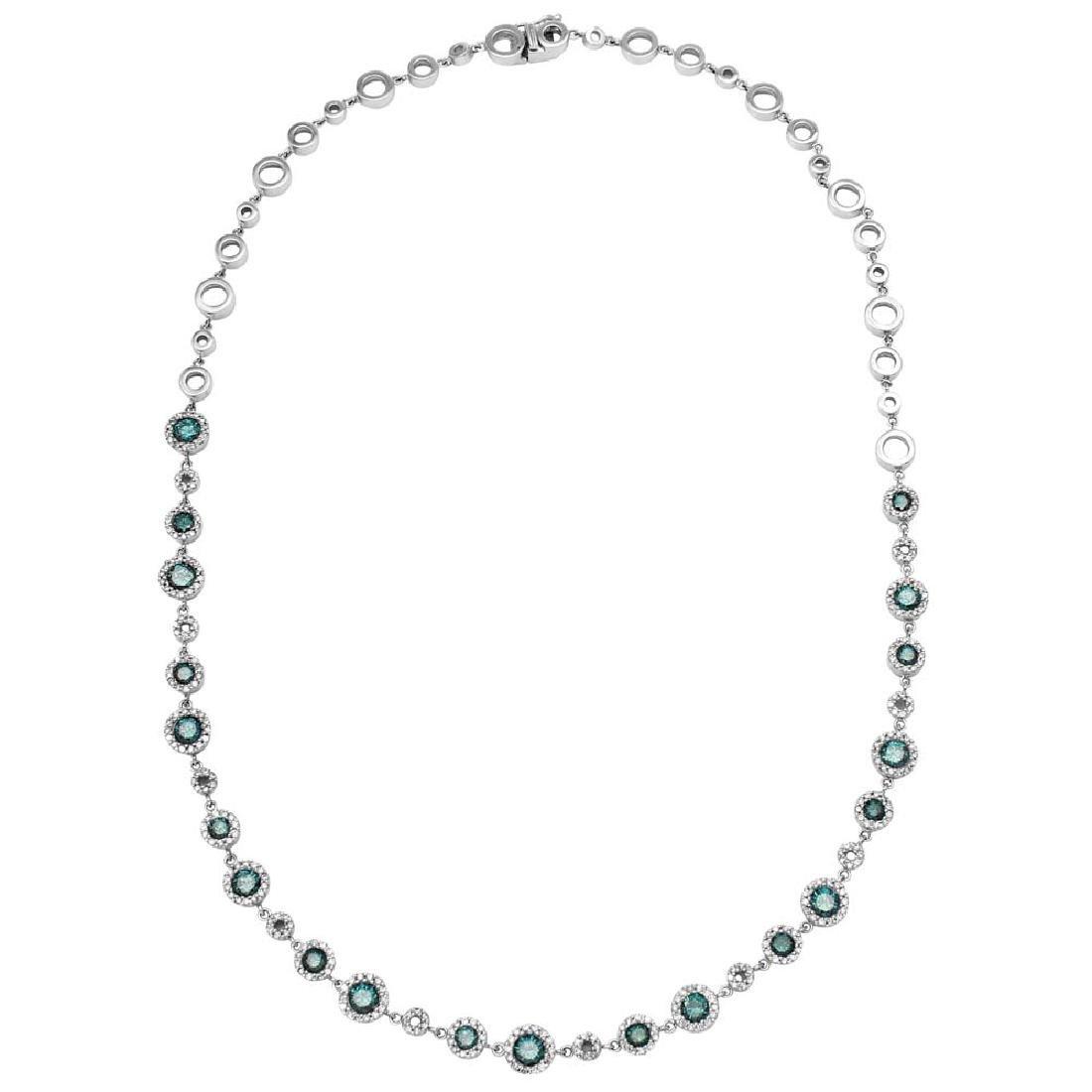 Genuine 1.29 TCW 18K White Gold Ladies Necklace