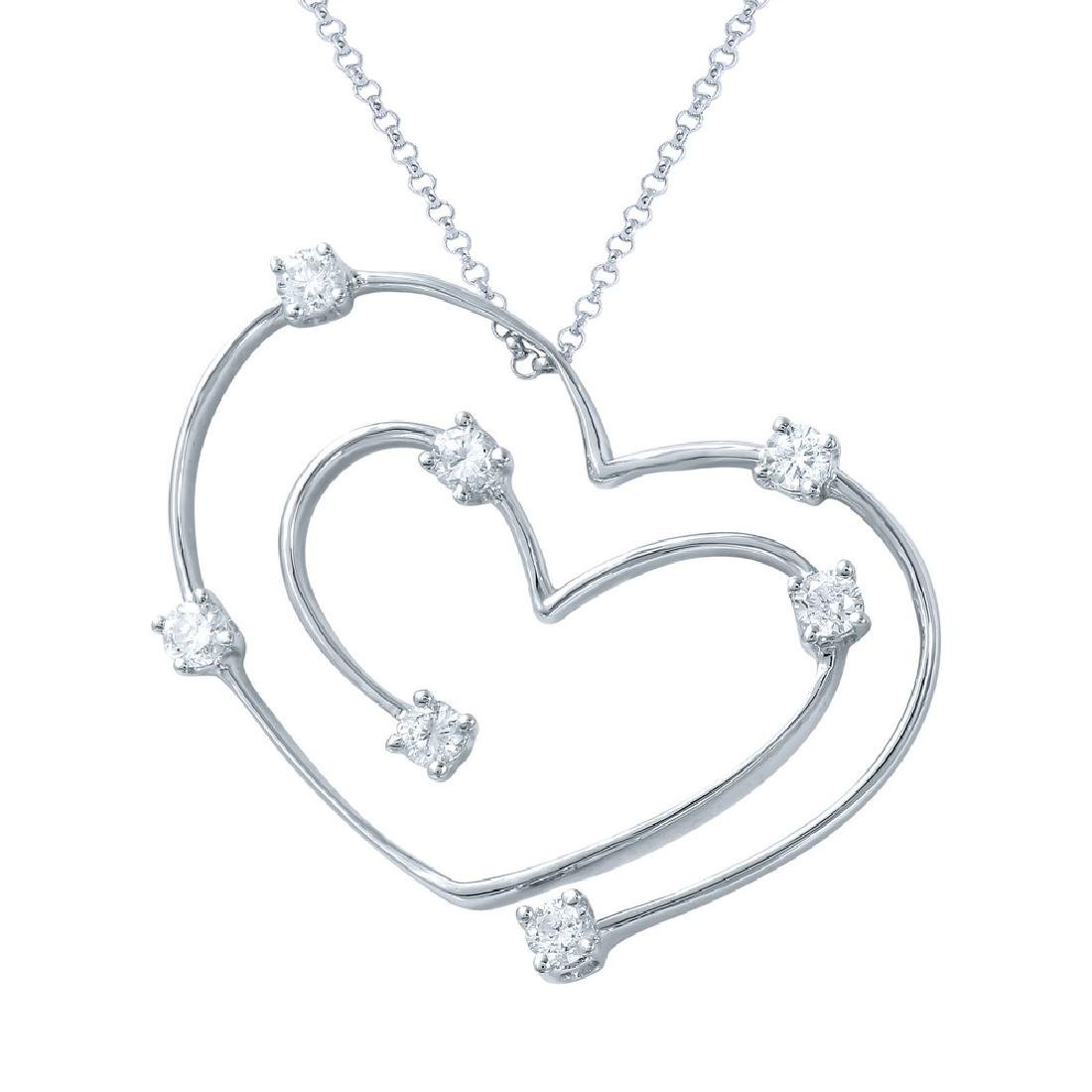 Genuine 0.37 TCW 18K White Gold Ladies Necklace