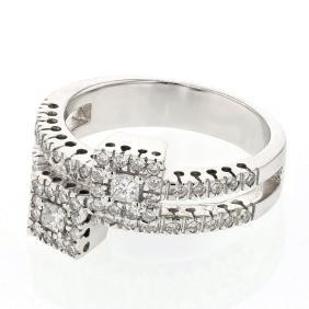 Round & Princess Split Shank Diamond Fashion Ring in