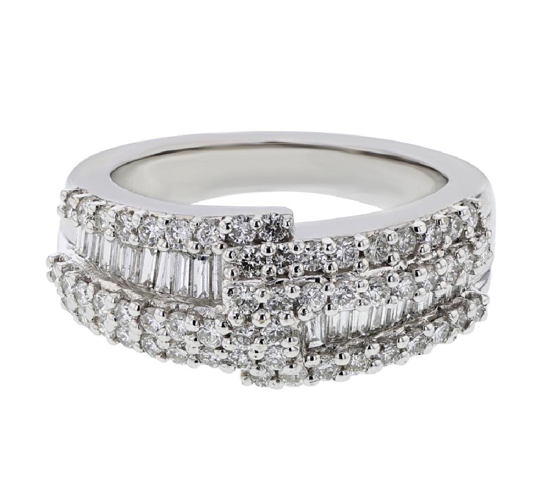 18K WhiteGold 1.31CTW Baguette Fashion Ring
