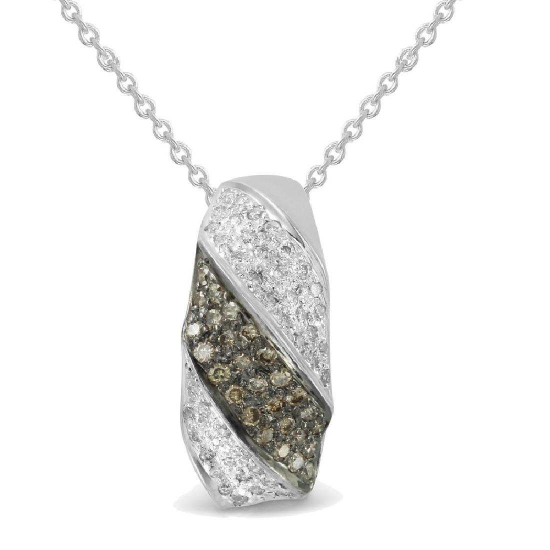 Genuine 0.37 TCW 14K White Gold Ladies Pendant