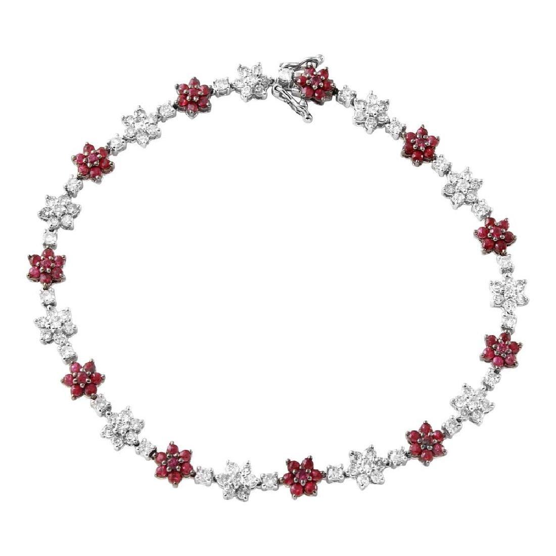 Genuine 3.28 TCW 14K White Gold Ladies Bracelet