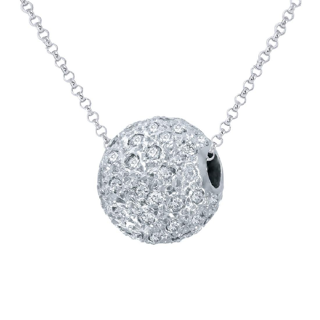 Genuine 1 TCW 14K White Gold Ladies Pendant