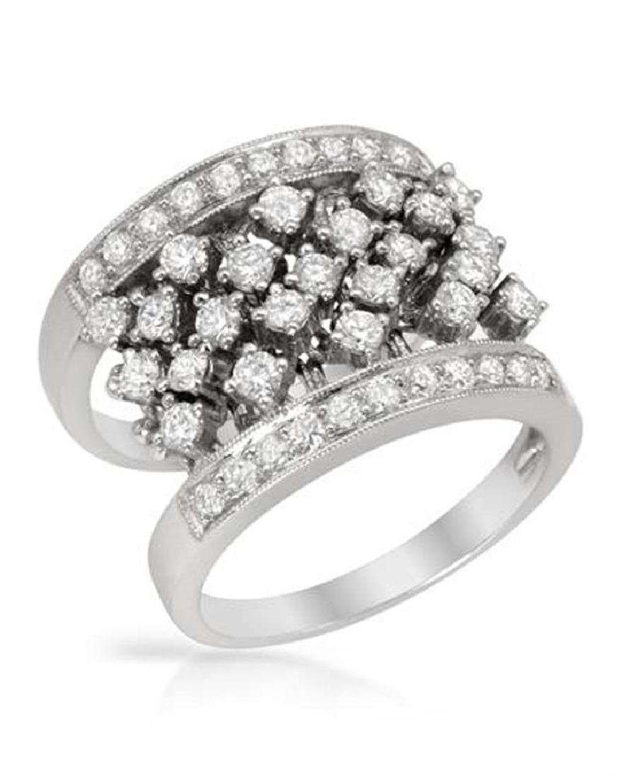 Genuine 0.94 TCW 18K White Gold Ladies Ring