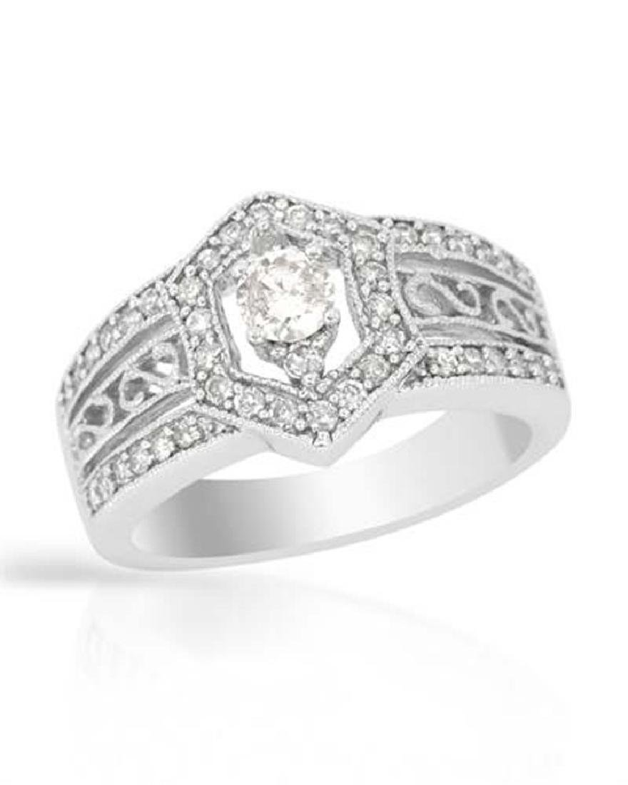Genuine 0.74 TCW 14K White Gold Ladies Ring