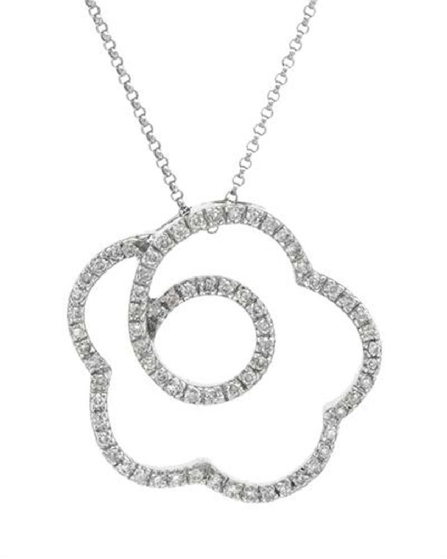 Genuine 0.62 TCW 18K White Gold Ladies Necklace