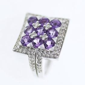 Round cut Multi-colored Amethyst Diamond Ring in 18K