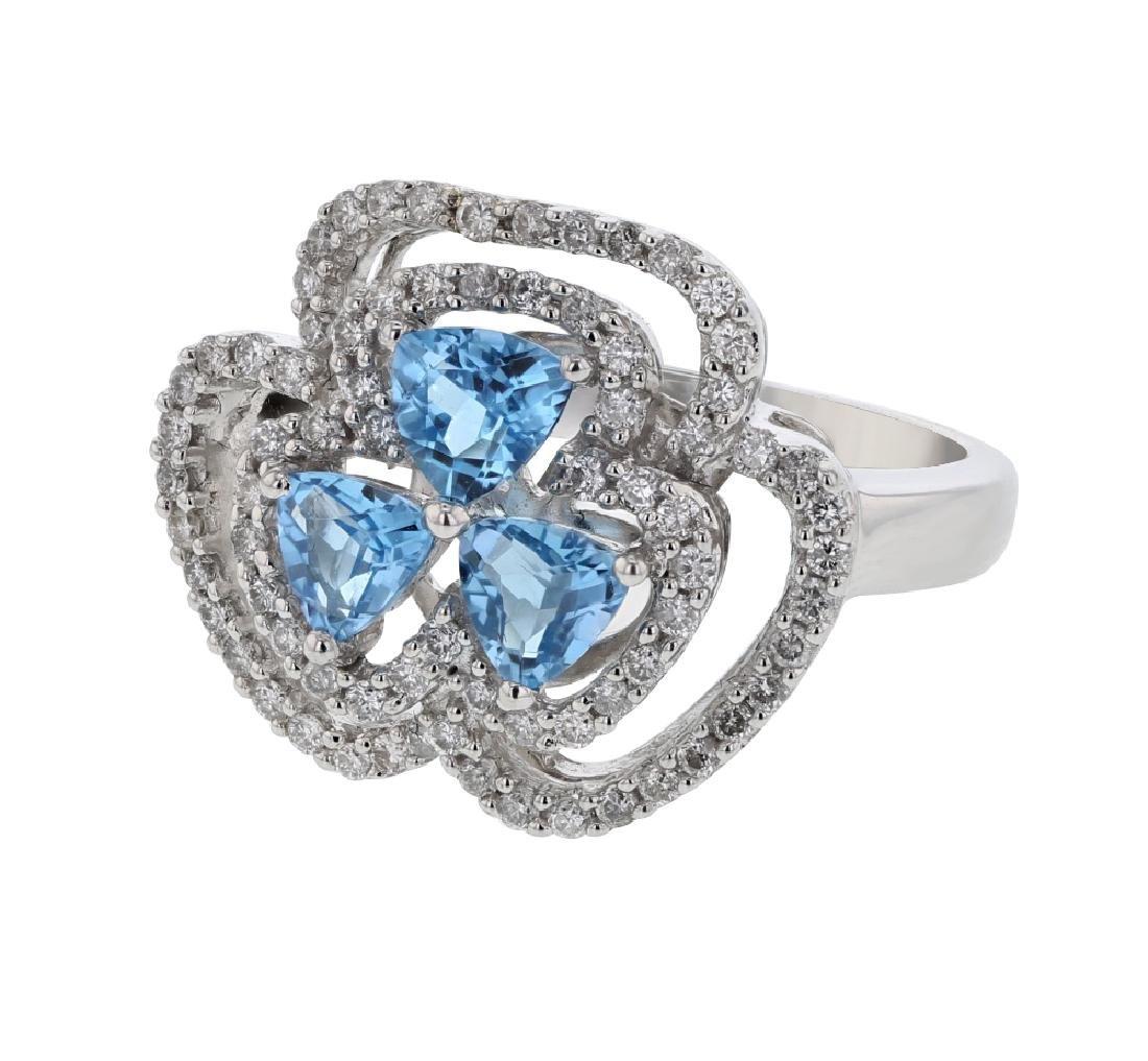 14K WhiteGold 1.74CTW Topaz&Diamond Cocktail Ring