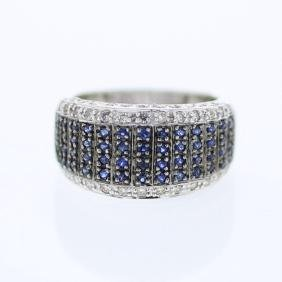 Multi-row Pave-set w/ Blue Sapphire Diamond Ring in 14K