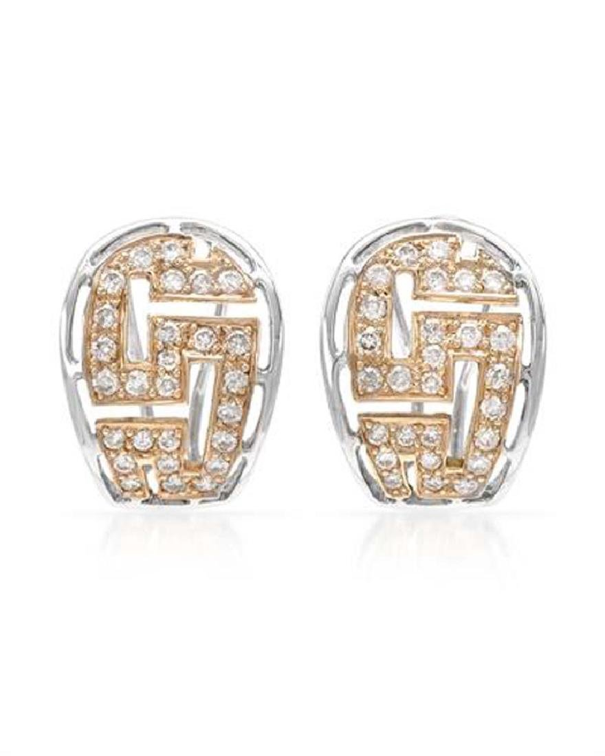 Genuine 0.83 TCW 18K Two Tone Gold Ladies Earring
