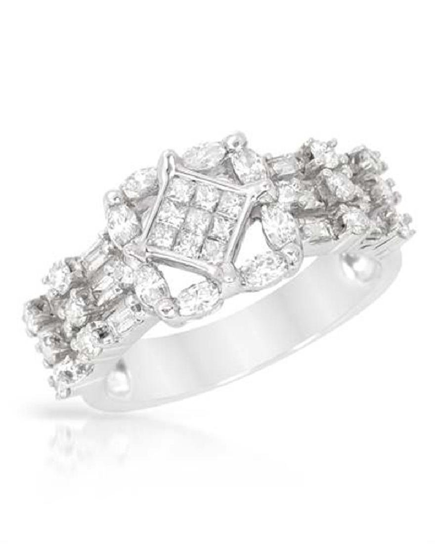Genuine 1.29 TCW 14K White Gold Ladies Ring