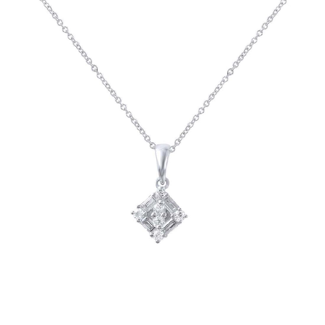 Genuine 0.29 TCW 18K White Gold Ladies Necklace