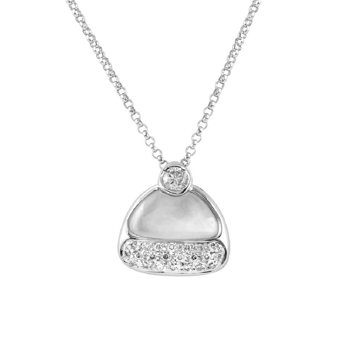 Genuine 1.03 TCW 18K White Gold Ladies Necklace