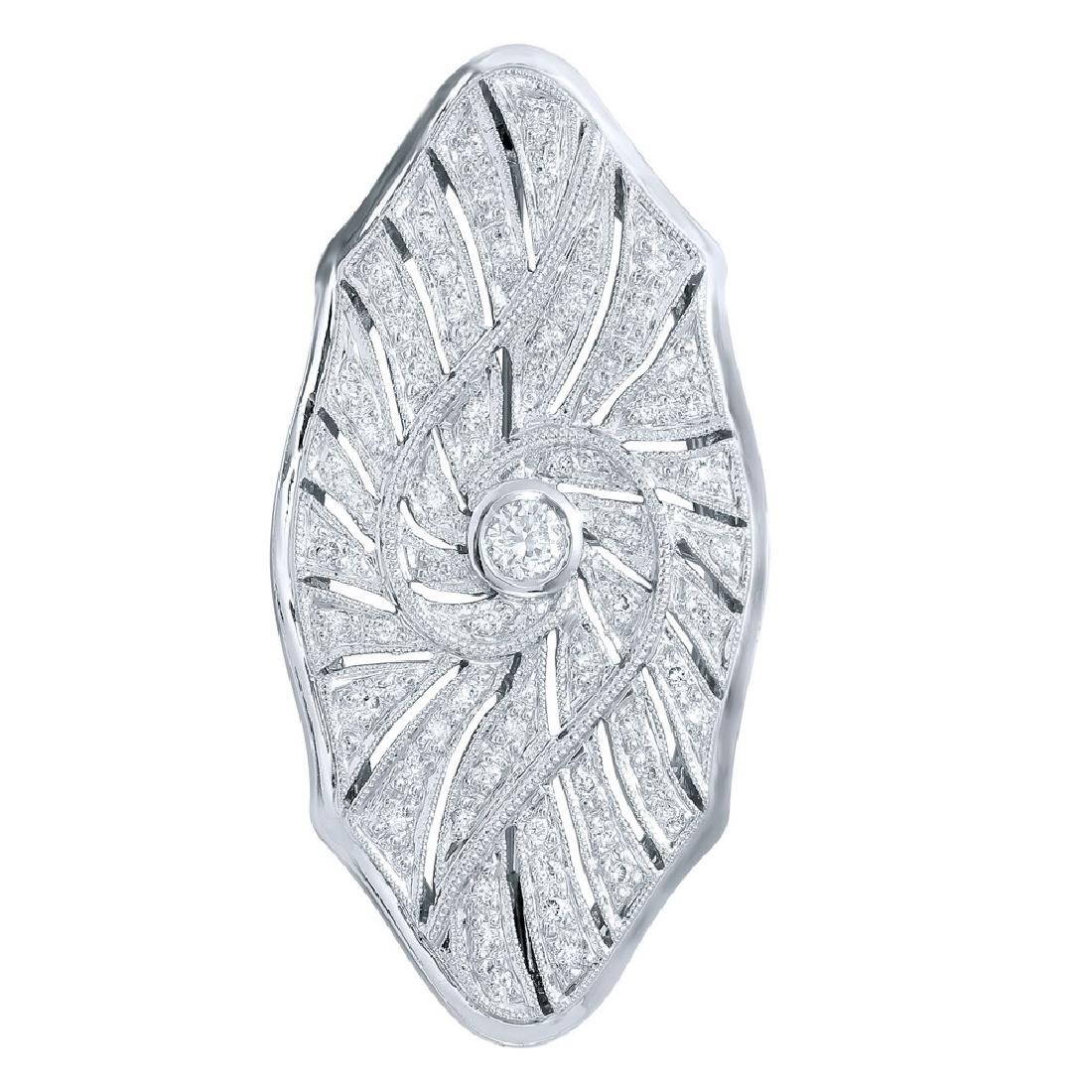 Genuine 0.52 TCW 18K White Gold Ladies Brooch