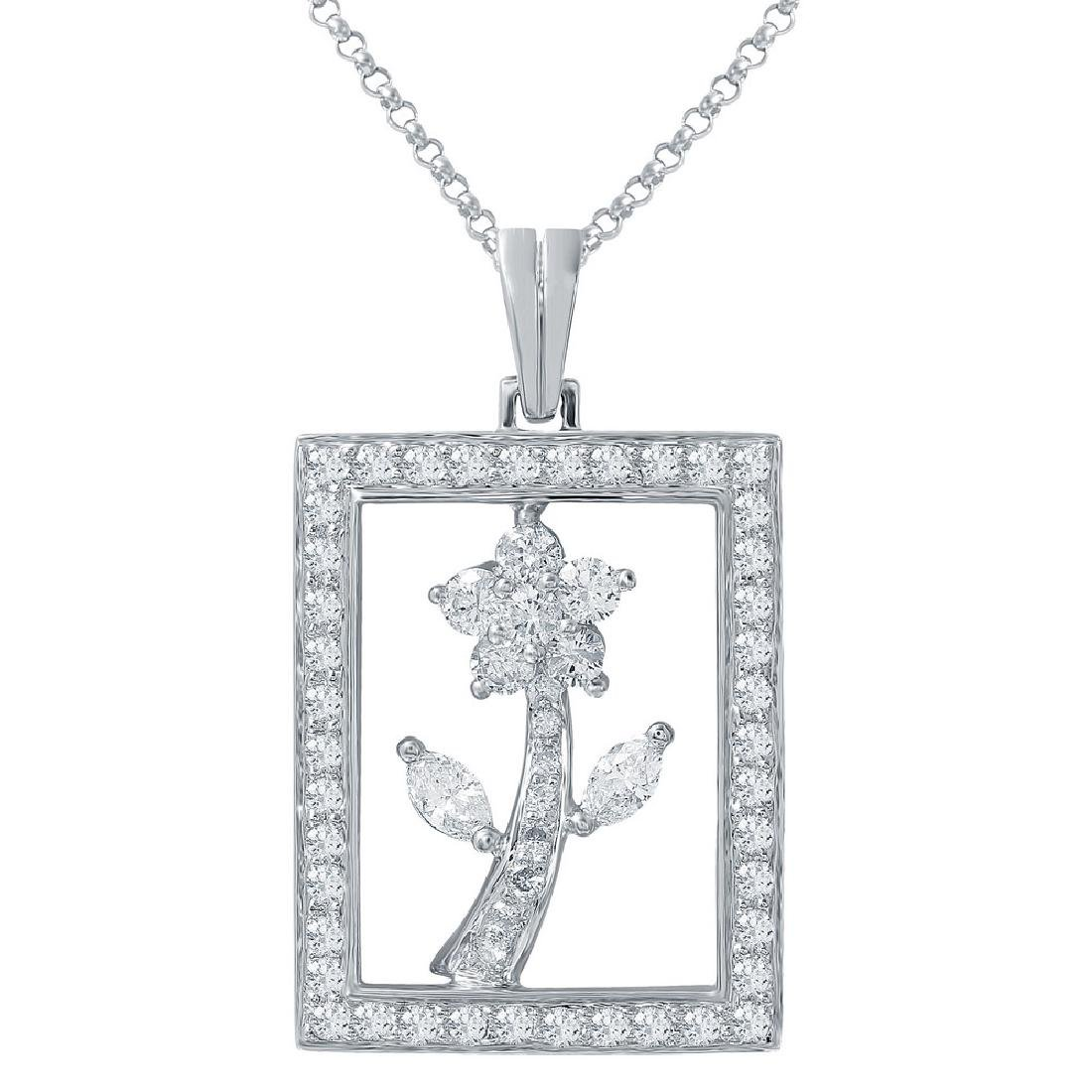 Genuine 1.49 TCW 18K White Gold Ladies Pendant