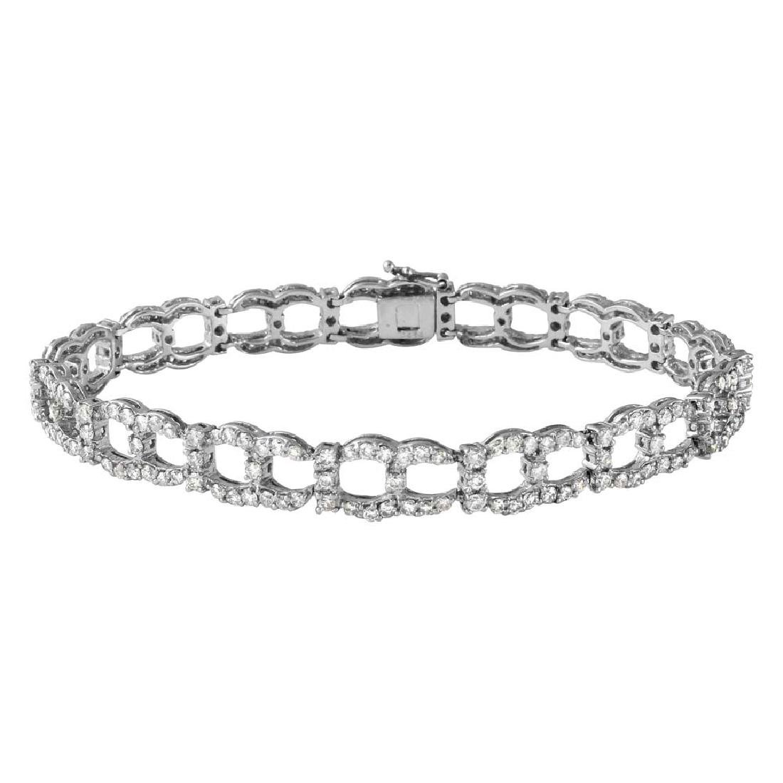 Genuine 4.54 TCW 14K White Gold Ladies Bracelet