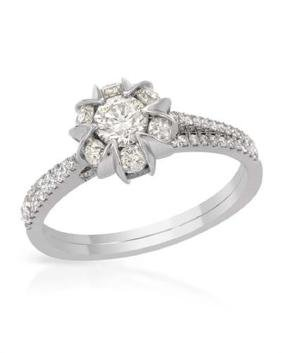 14K White Gold 1.07CTW Diamond Ring