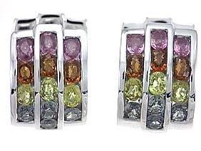 14K White Gold 6.49CTW Sapphire Gemstone Earring