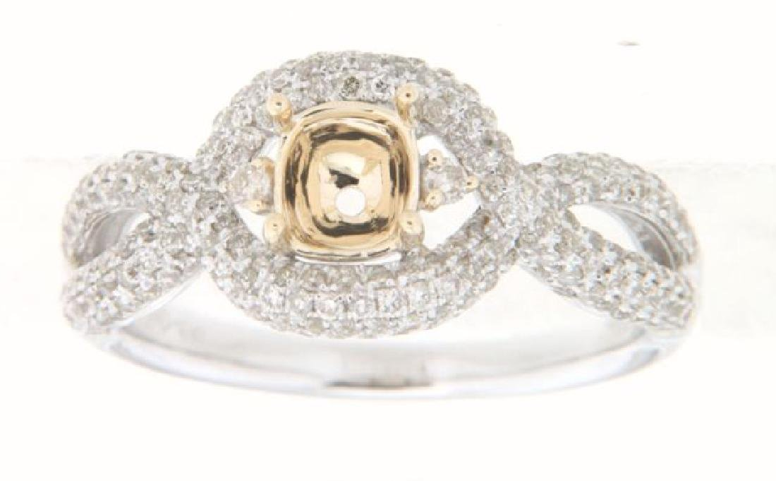 14K Two Tone Gold 0.9CTW Diamond Semi Mount Ring
