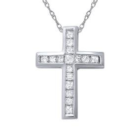 Genuine 0.65 TCW 18K White Gold Ladies Pendant