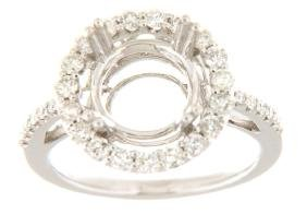 14K White Gold 0.72CTW Diamond Semi Mount Ring