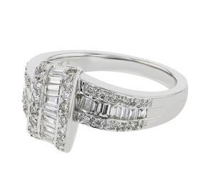 18K WhiteGold 0.89CTW Baguette Fashion Ring