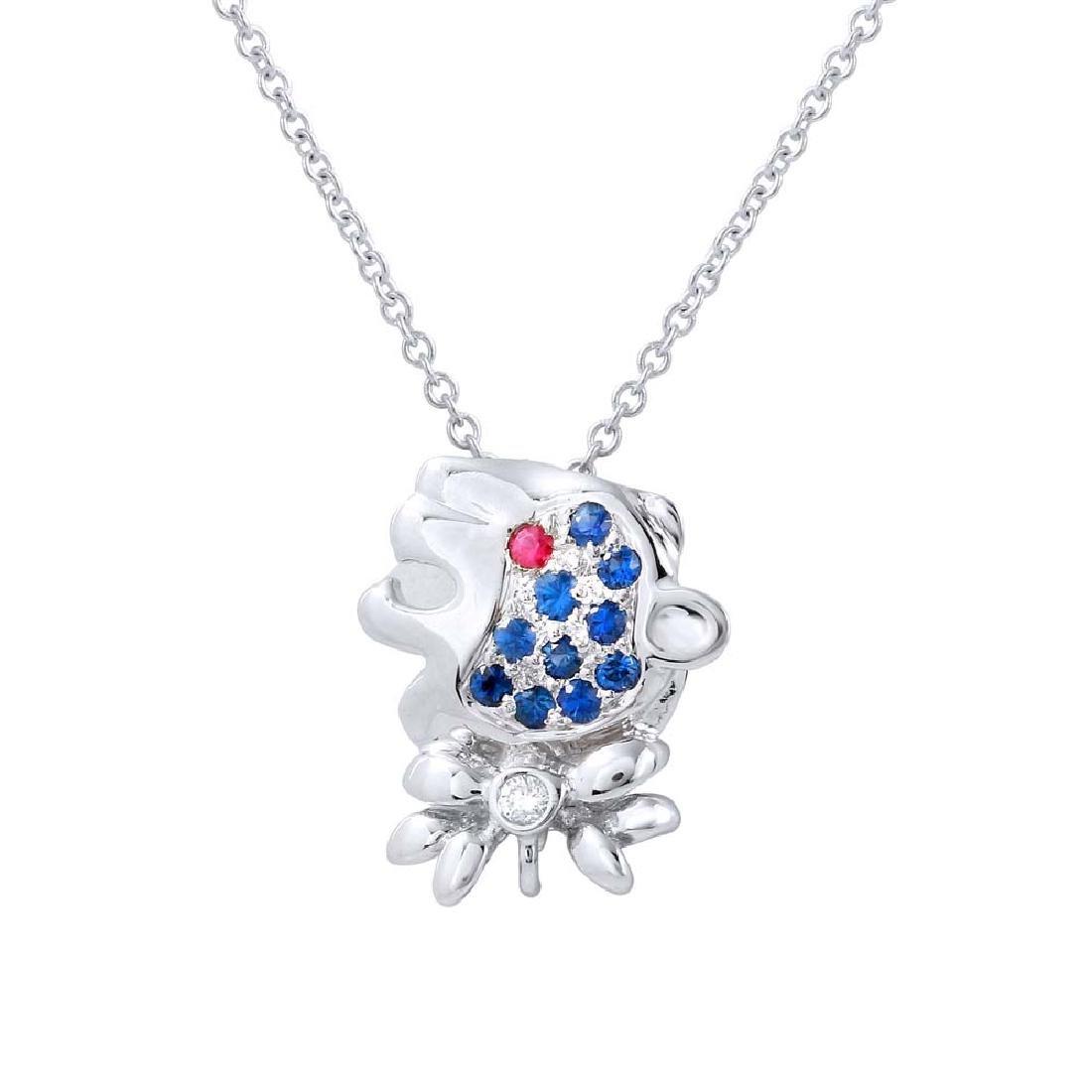 Genuine 0.18 TCW 14K White Gold Ladies Necklace