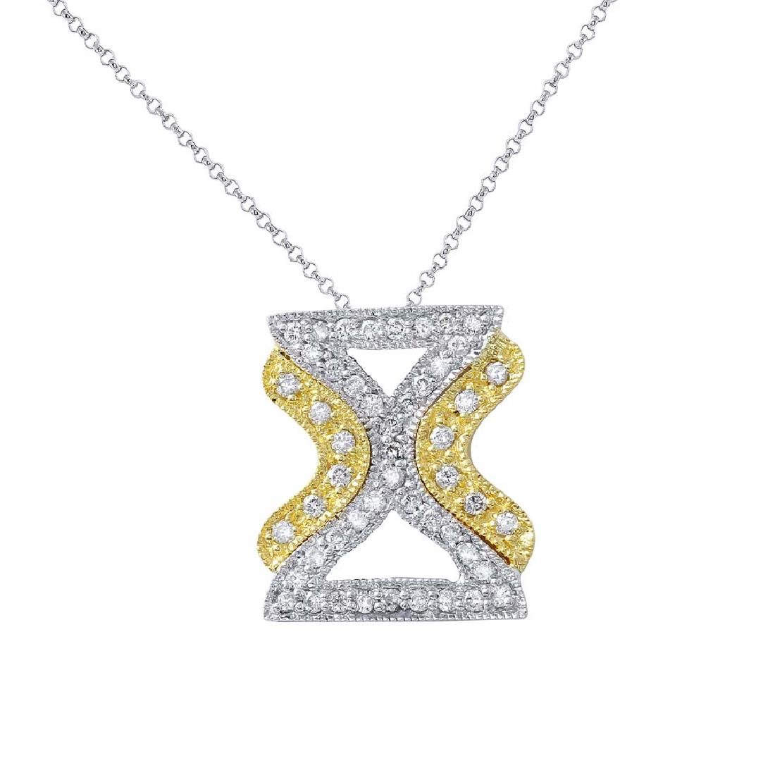 Genuine 0.5 TCW 18K Two Tone Gold Ladies Necklace