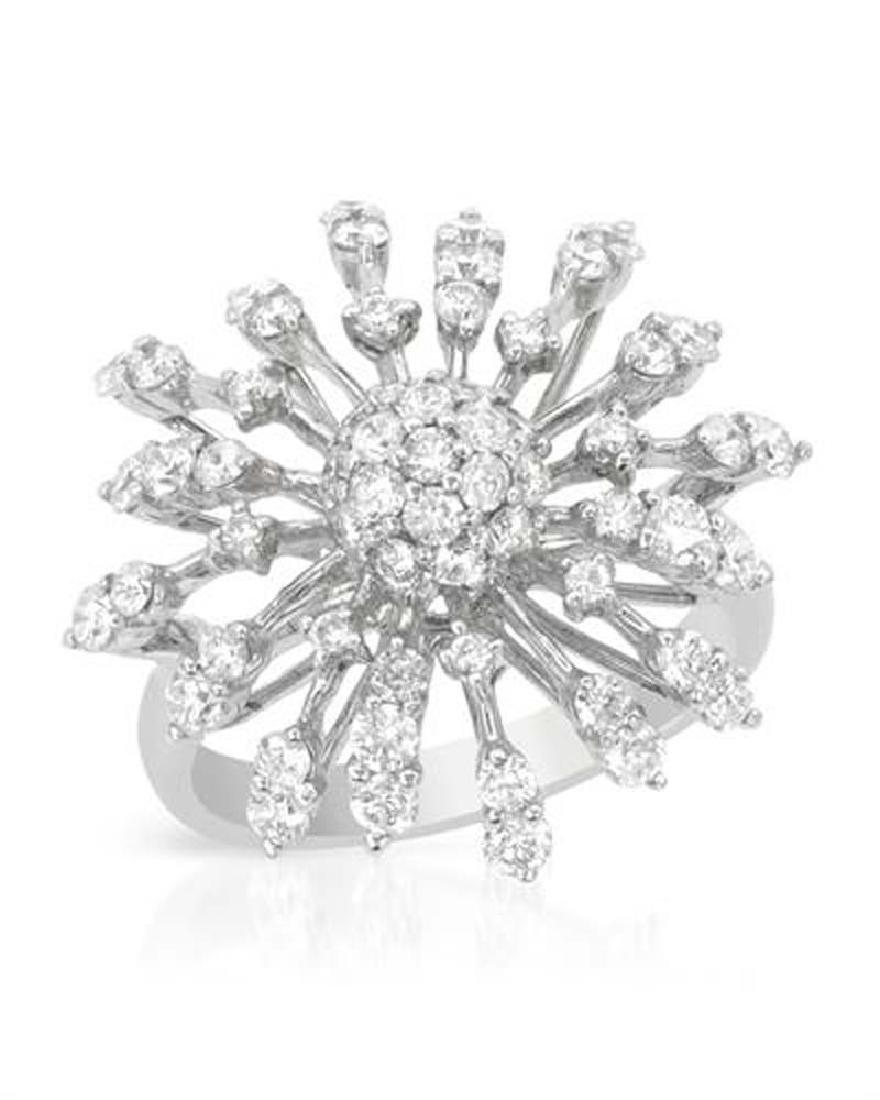 Genuine 1.59 TCW 18K White Gold Ladies Ring
