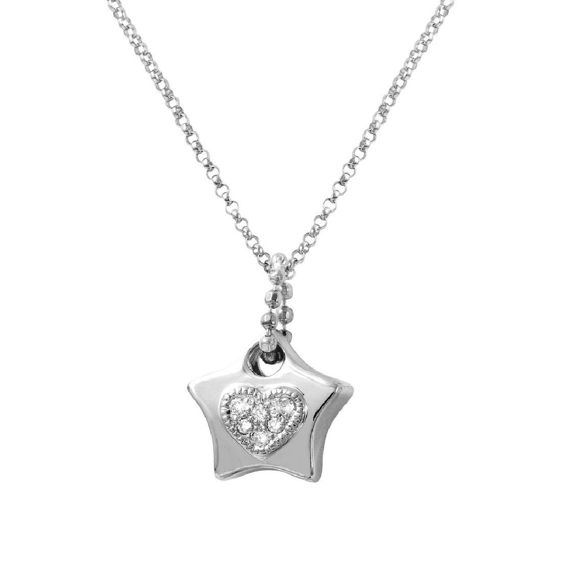 Genuine 0.14 TCW 14K White Gold Ladies Necklace