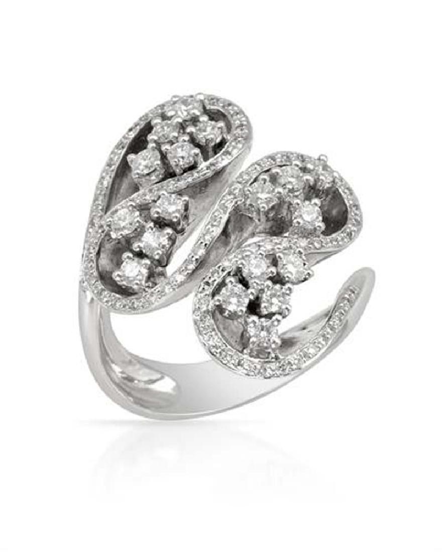 Genuine 1.02 TCW 18K White Gold Ladies Ring