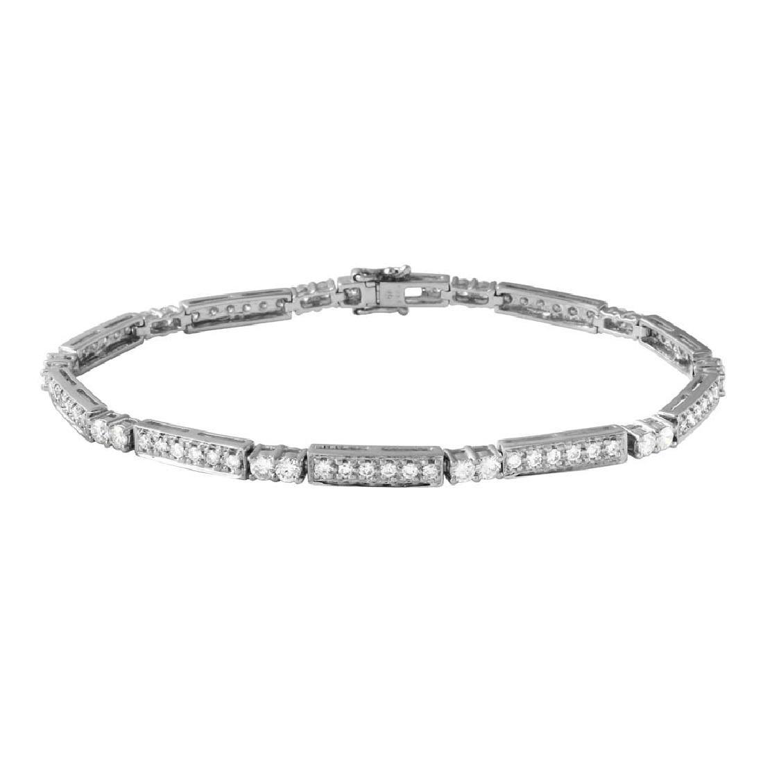 Genuine 2.13 TCW 18K White Gold Ladies Bracelet