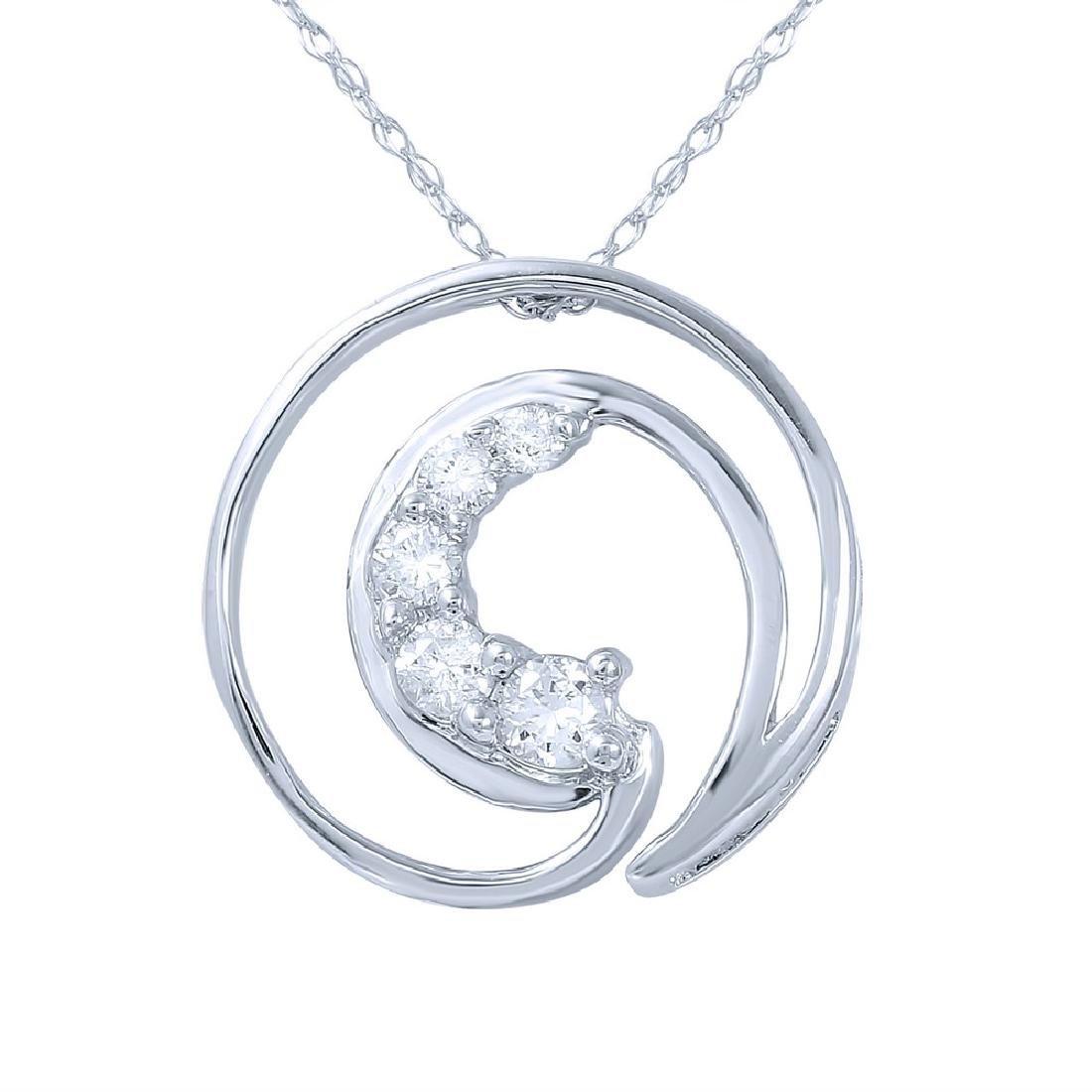 Genuine 0.25 TCW 14K White Gold Ladies Necklace