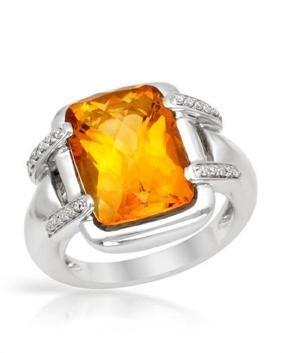 14KWhite Gold 6.95 CTW Citrine & Diamond Ring