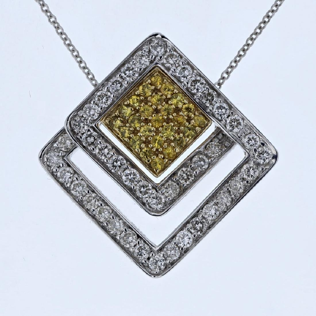 14K TwoTone Gold 1.41CTW Diamond&Sapphire Pendant