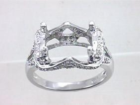 14K White Gold 0.29CTW Diamond Semi Mount Ring