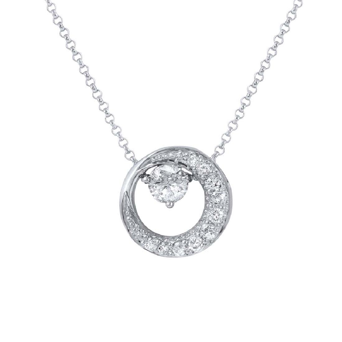 Genuine 0.66 TCW 14K White Gold Ladies Necklace