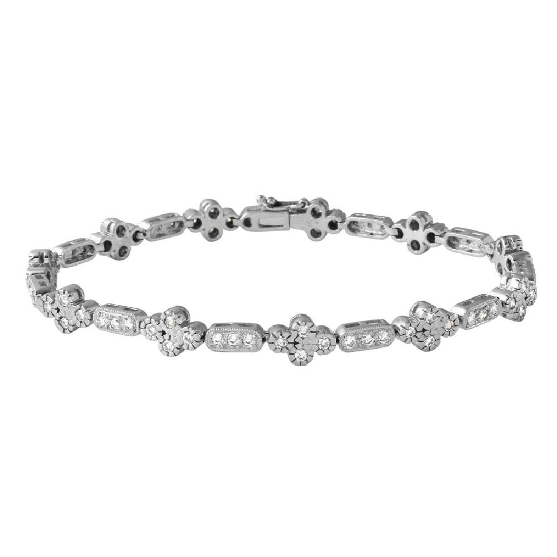 Genuine 1.62 TCW 14K White Gold Ladies Bracelet