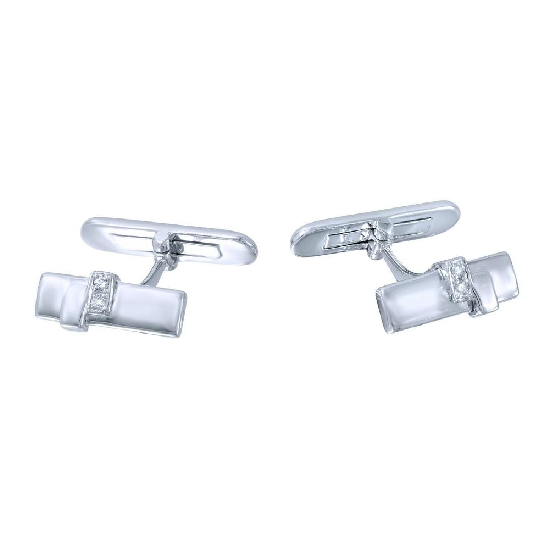Genuine 0.07 TCW 14K White Gold Ladies Cuff Links