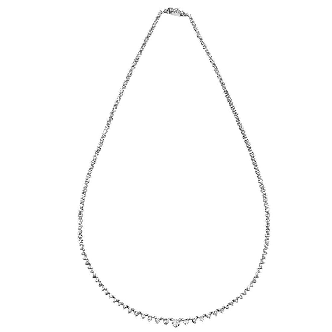 Genuine 0.97 TCW 18K White Gold Ladies Necklace