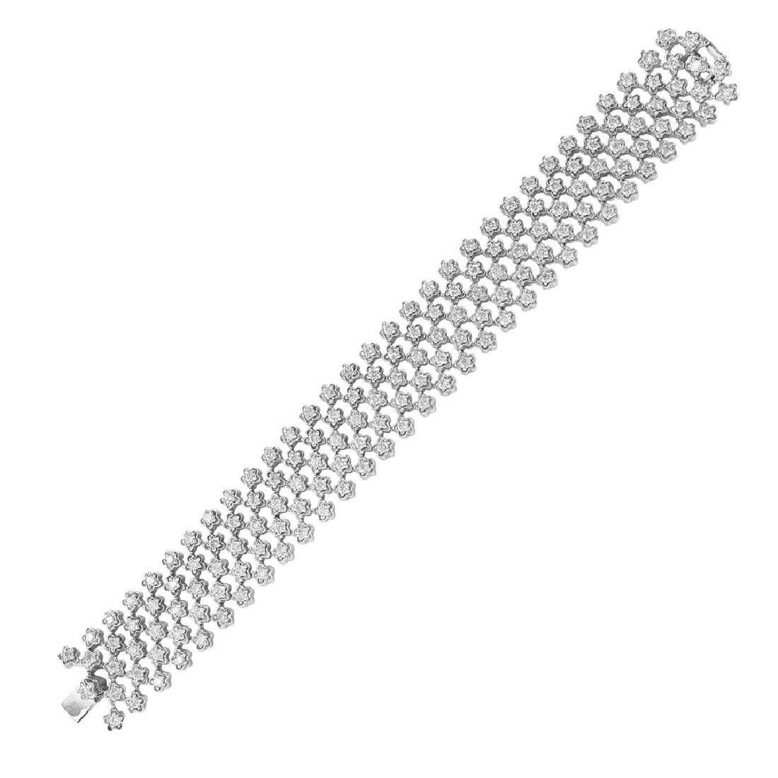 Genuine 8.83 TCW 14K White Gold Ladies Bracelet