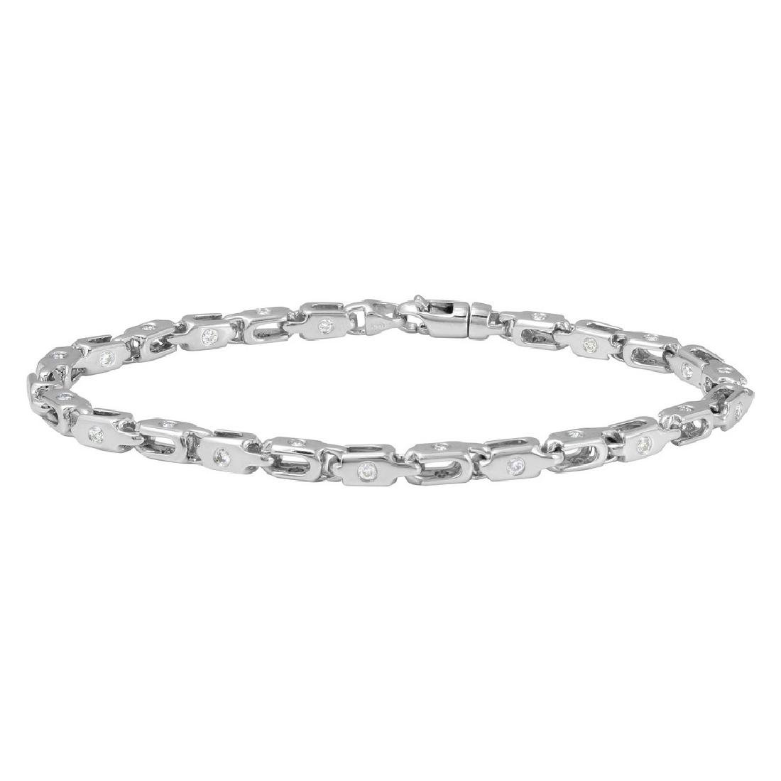 Genuine 1.41 TCW 14K White Gold Gents Bracelet