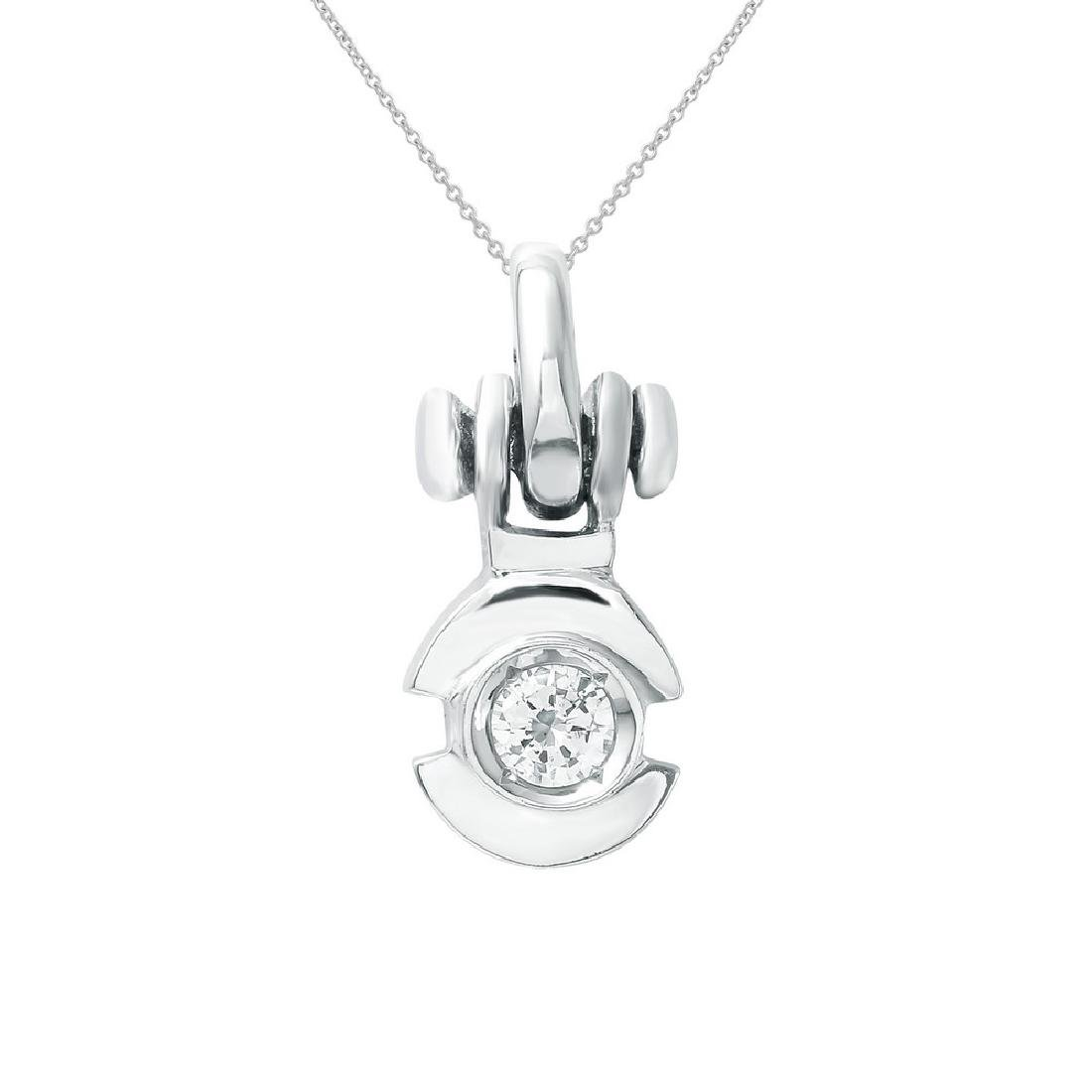 Genuine 0.19 TCW 18K White Gold Ladies Pendant