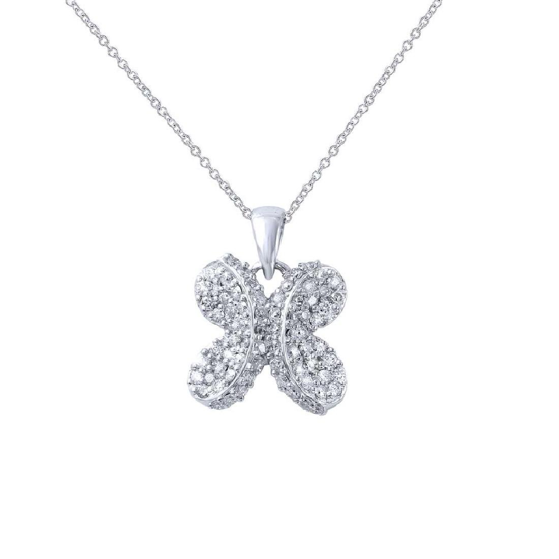 Genuine 0.67 TCW 18K White Gold Ladies Necklace