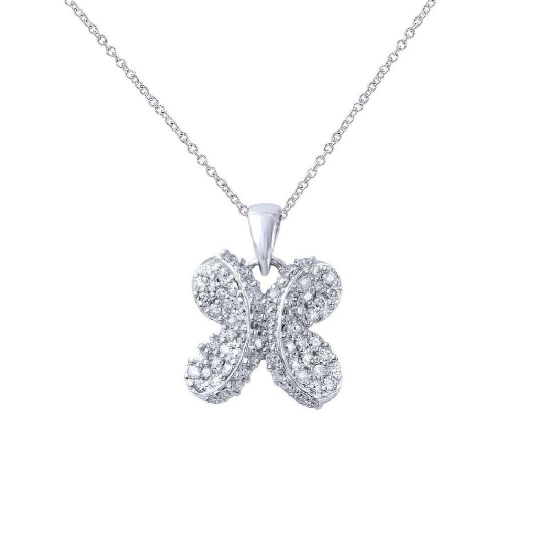 Genuine 0.67 TCW 18K White Gold Ladies Necklace