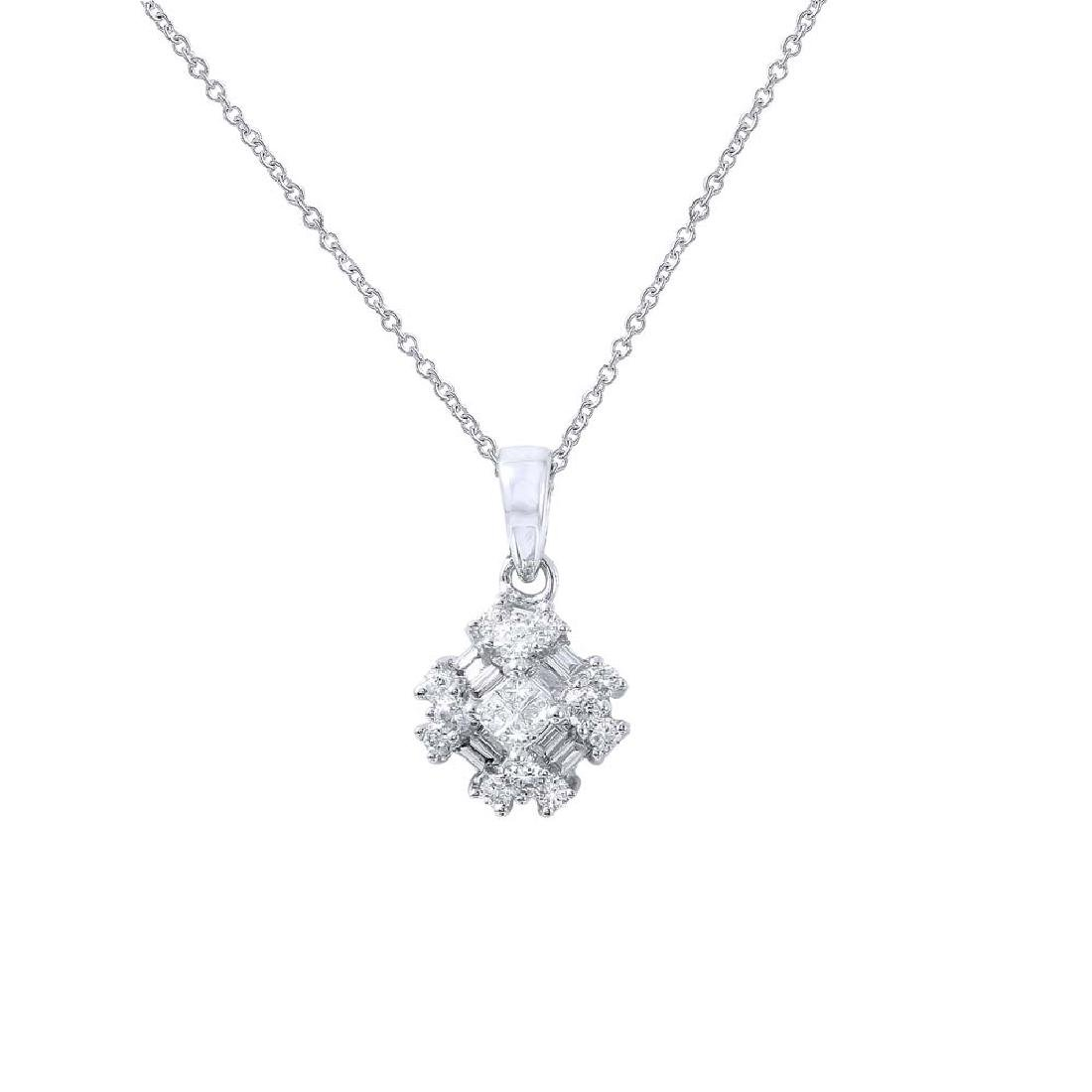 Genuine 0.44 TCW 18K White Gold Ladies Necklace