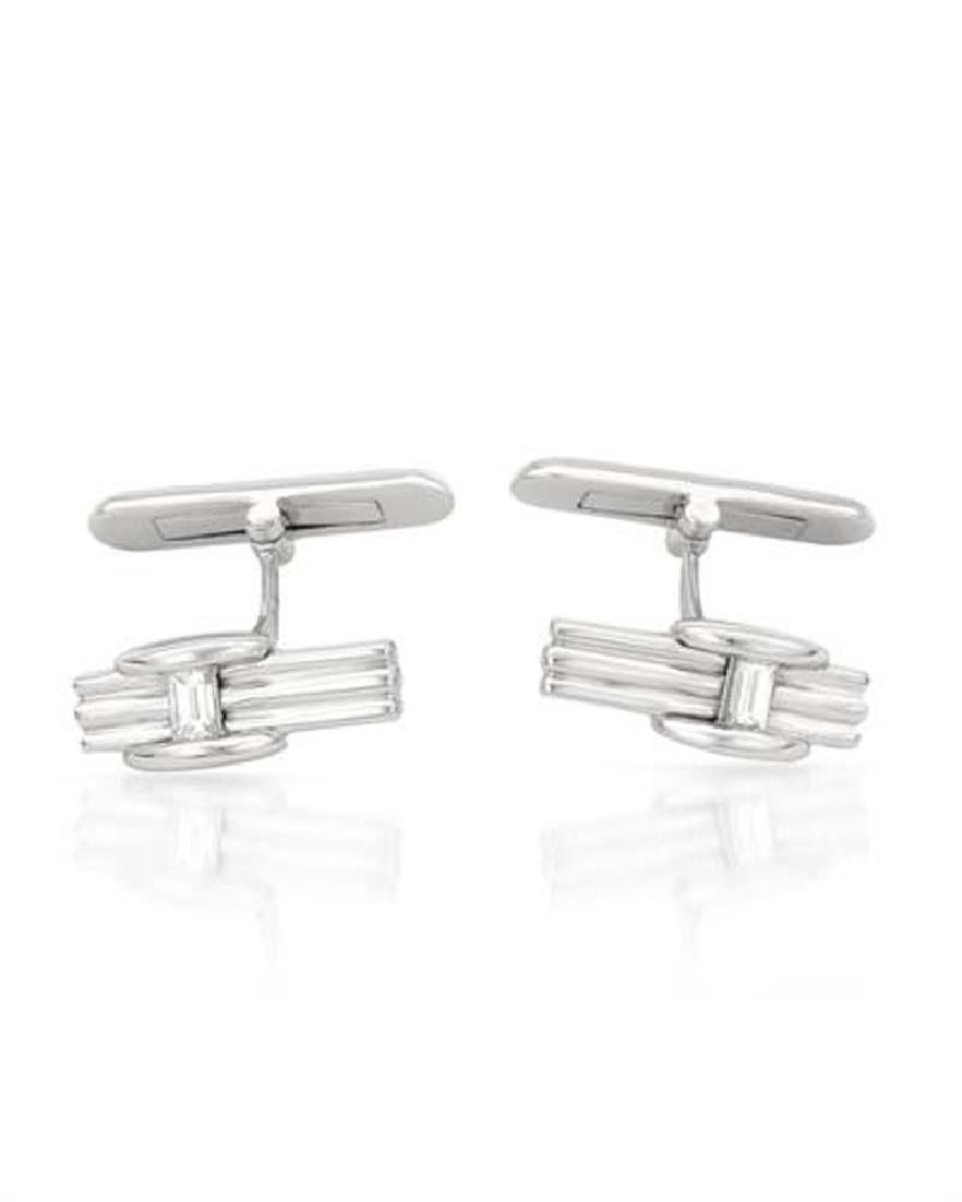 Genuine 0.27 TCW 14K White Gold Ladies Cuff Links