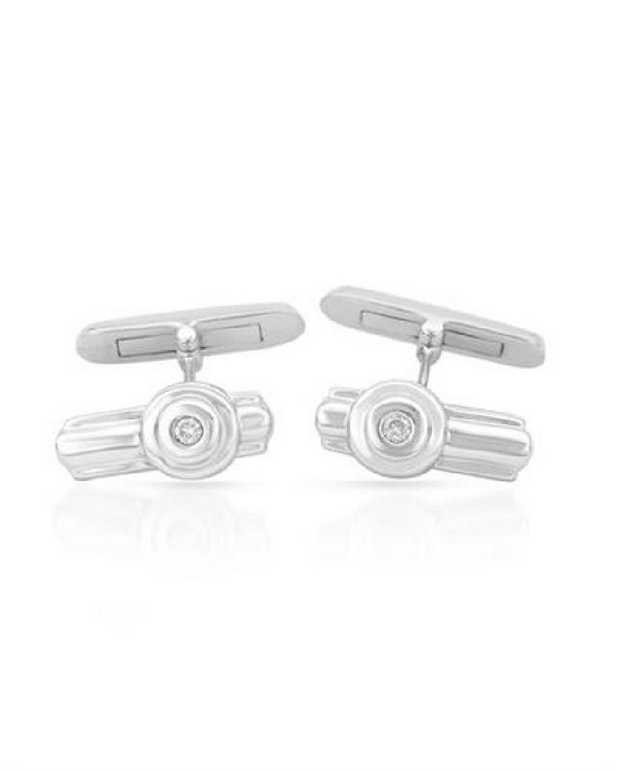 Genuine 0.1 TCW 14K White Gold Ladies Cuff Links
