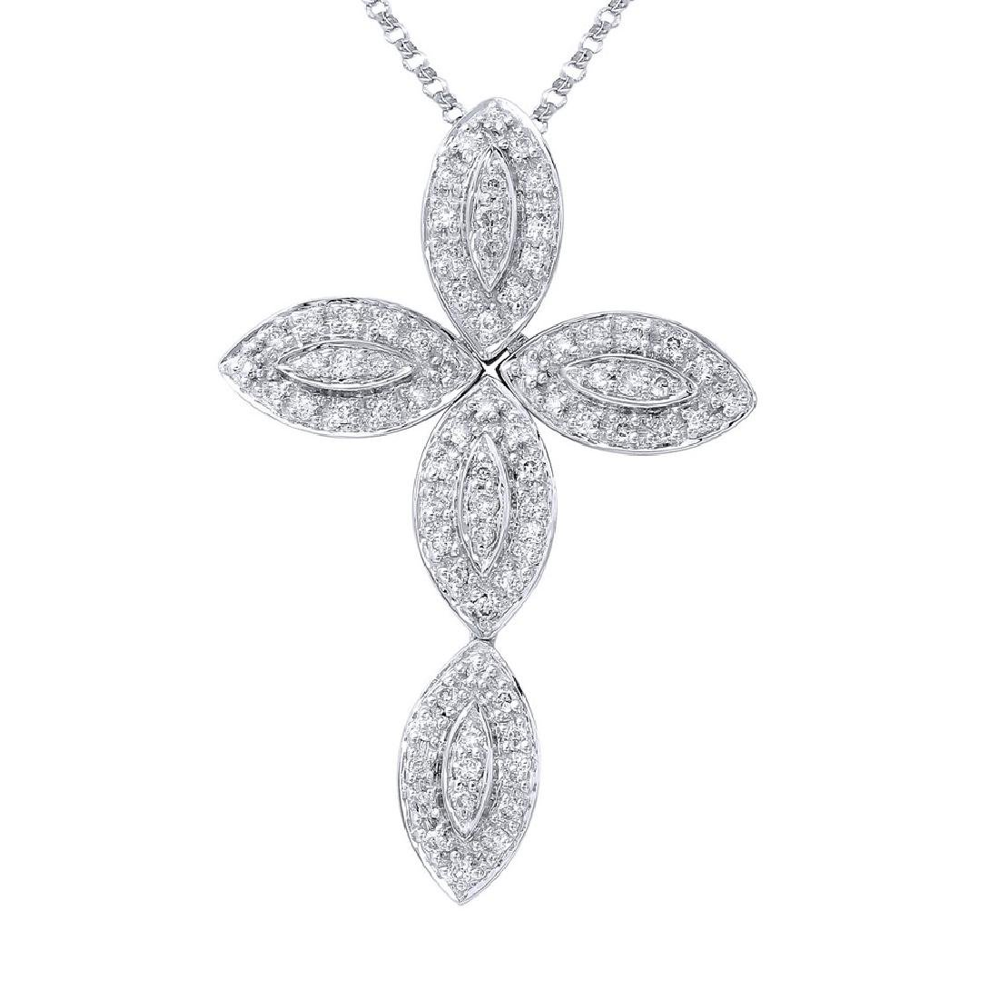 Genuine 0.38 TCW 14K White Gold Ladies Necklace